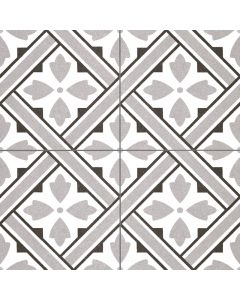 Grey Victorian Style Patterned Floor Tile - Albert Range | Tiles360