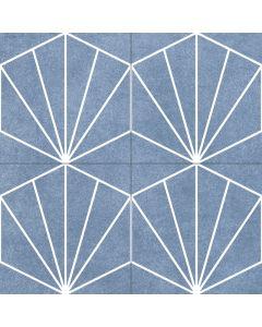 Geometric Patterned Floor in Denim Blue - Consort Range |Tiles360