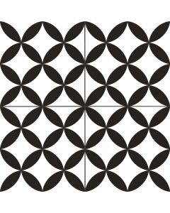 Black and White  Circle Patterned Floor Tile - Victorian Collection | Tiles360
