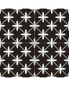 Black and White Star Pattern Floor Tiles - Edison Range | Tiles360