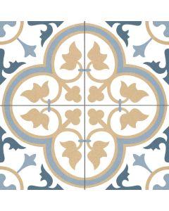 Beige and Blues Victorian Patterned Floor Tile - Kent Range | Tiles360