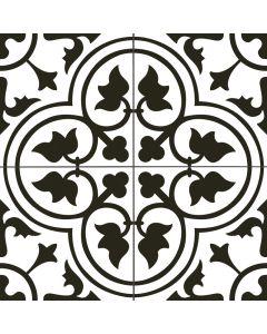 Black and White Victorian Patterned Floor Tile - Kent Range | Tiles360