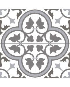 Grey and White Victorian Patterned Floor Tile - Kent Range | Tiles360
