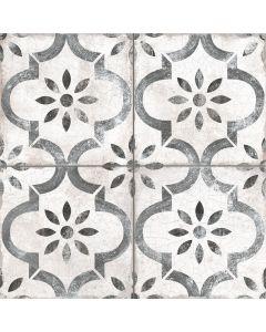 Grey and White Vintage Patterned Floor Tile - York Range |Tiles360