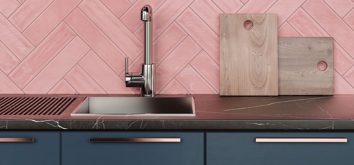 Pink Kitchen Tiles