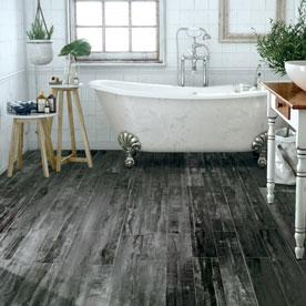 Black wood effect floor tile